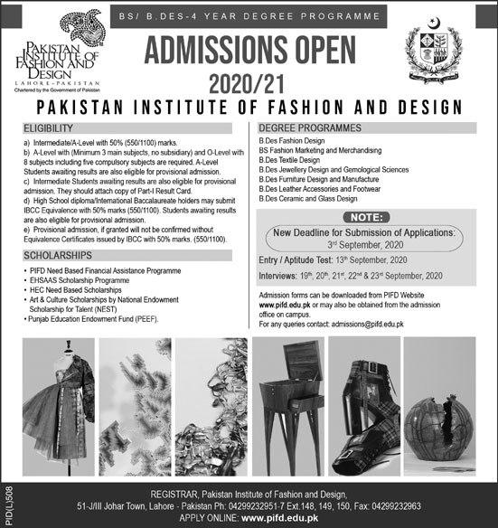 Pifd Lahore Admission 2020 Undergraduate Admission