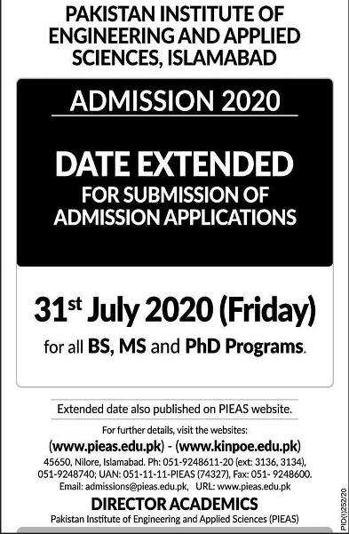 admission announcement of Pakistan Institute Of Engineering & Applied Sciences