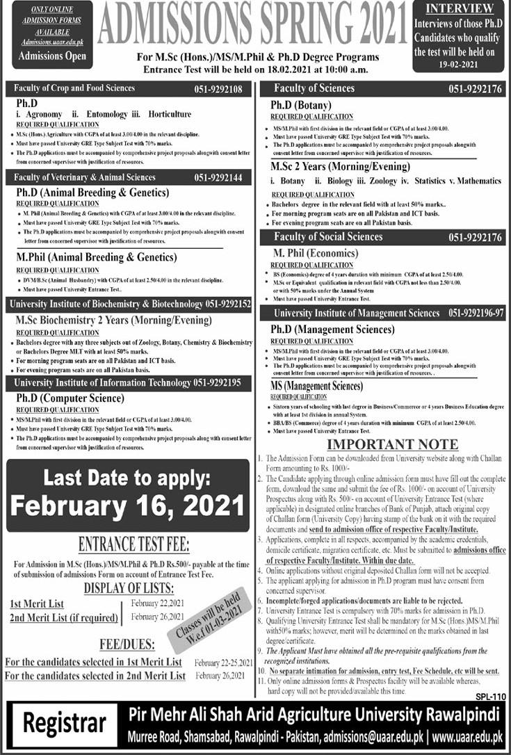admission announcement of Pir Mahar Ali Shah Arid Agriculture University