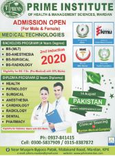 admission announcement of Prime Institute Of Health & Management Sciences