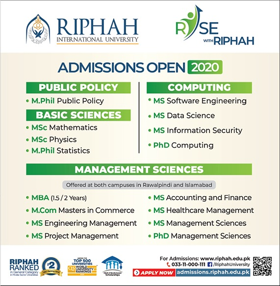 admission announcement of Riphah International University