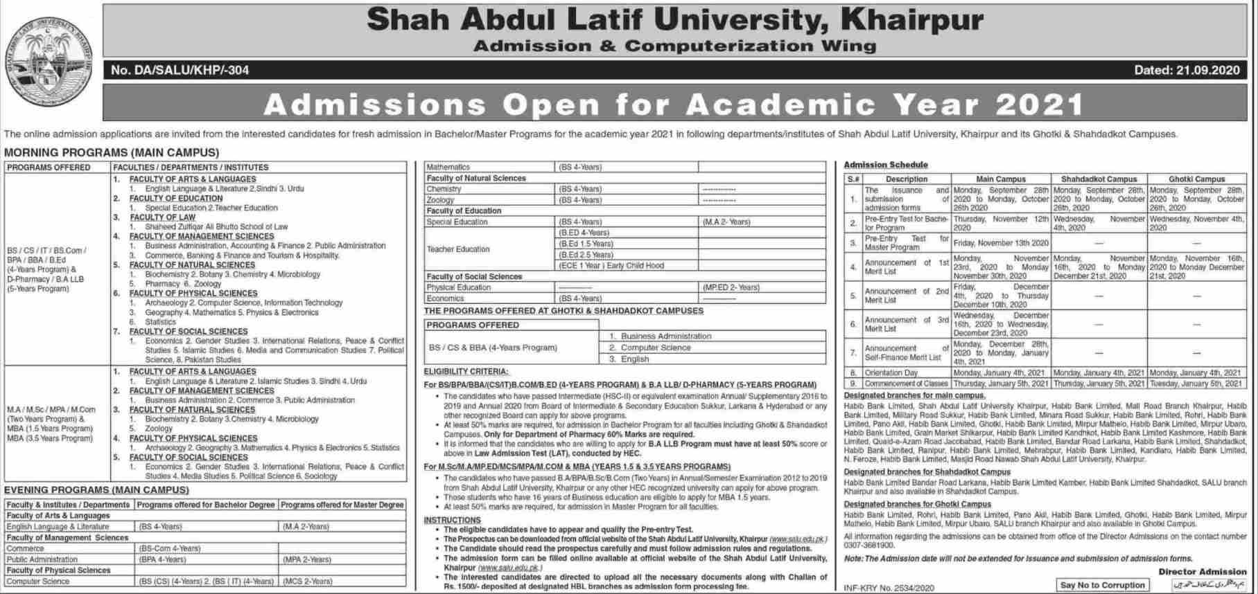 admission announcement of Shah Abdul Latif University