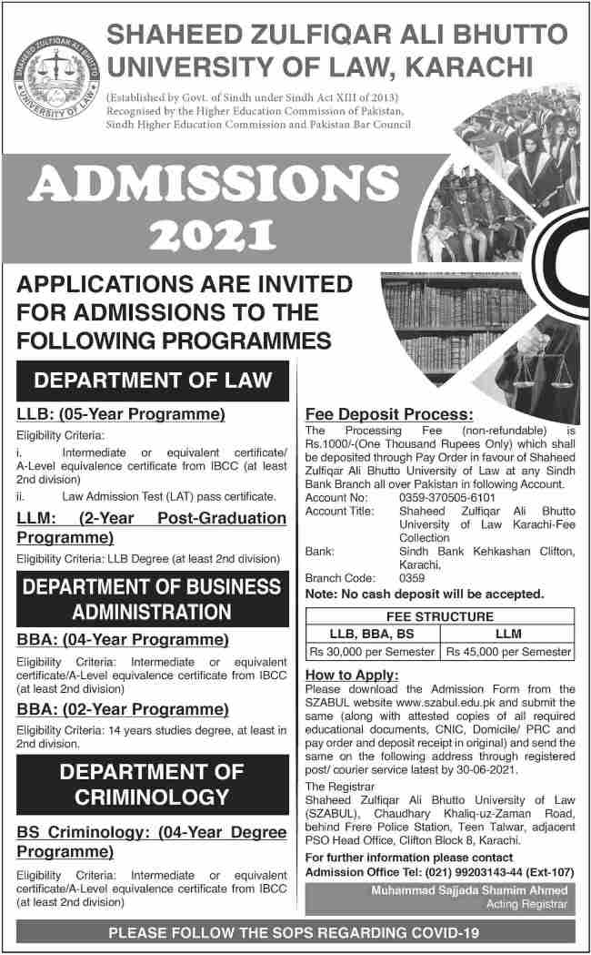 admission announcement of Shaheed Zulfiqar Ali Bhutto, University Of Law, Clifton