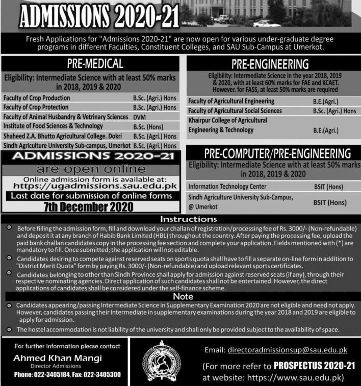 admission announcement of Sindh Agriculture University