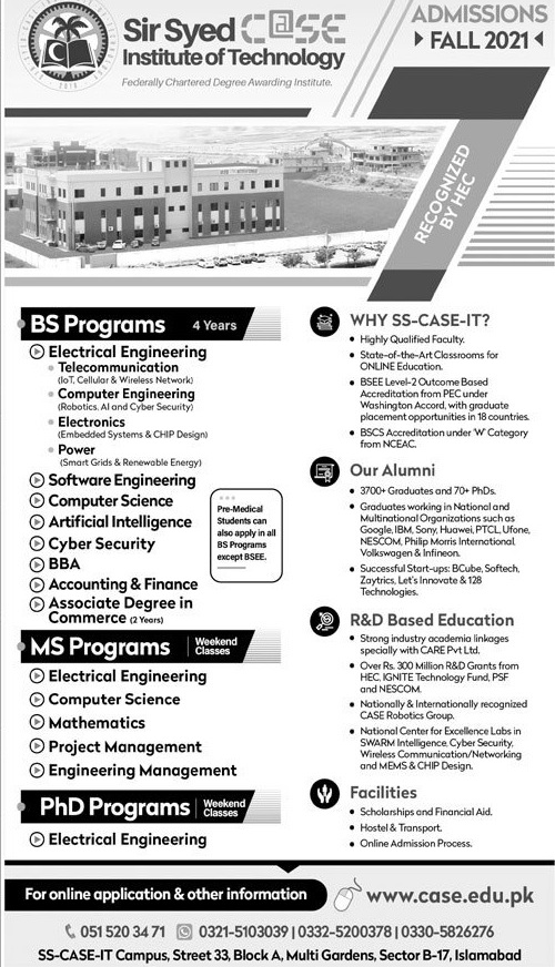 admission announcement of Sir Syed Case Institute Of Technology