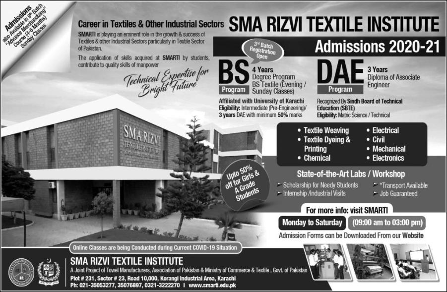 Sma Rizvi Textile Institute Karachi Admission 2020 Diploma Cert After Matric Admission