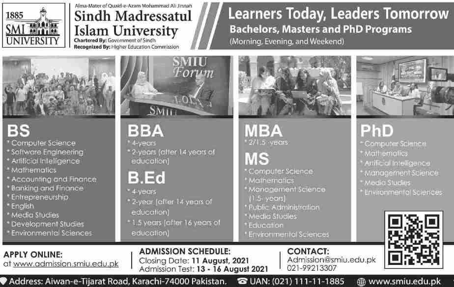 admission announcement of Sindh Madressatul Islam University