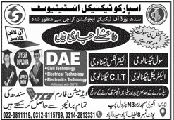 admission announcement of Sparco Technical Institute