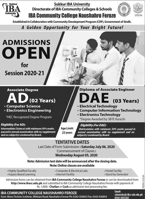 admission announcement of I B A Community College