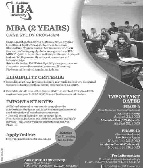 admission announcement of Sukkur Iba University