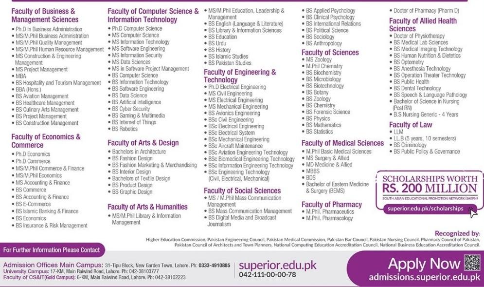 admission announcement of The Superior University