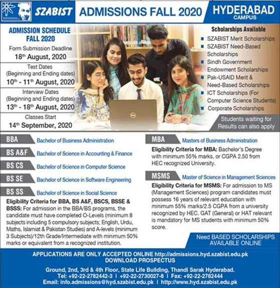 admission announcement of Shaheed Zulfikar Ali Bhutto Institute Of Science & Technology [hyderabad]