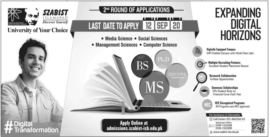 admission announcement of Shaheed Zulfiqar Ali Bhutto Institute Of Science And Technology