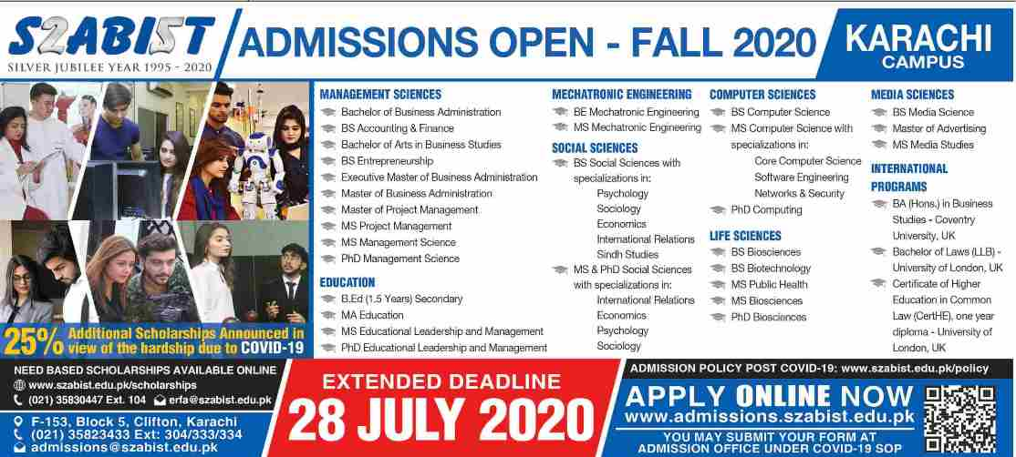 admission announcement of Shaheed Zulfiqar Ali Bhutto Institute Of Science & Technology