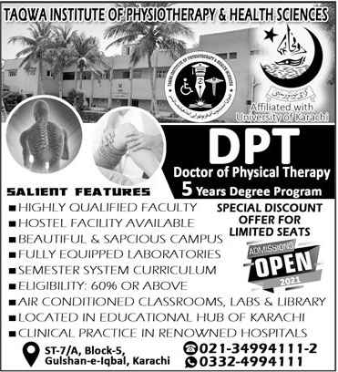 admission announcement of Taqwa Institute Of Physiotherapy & Health Sciences