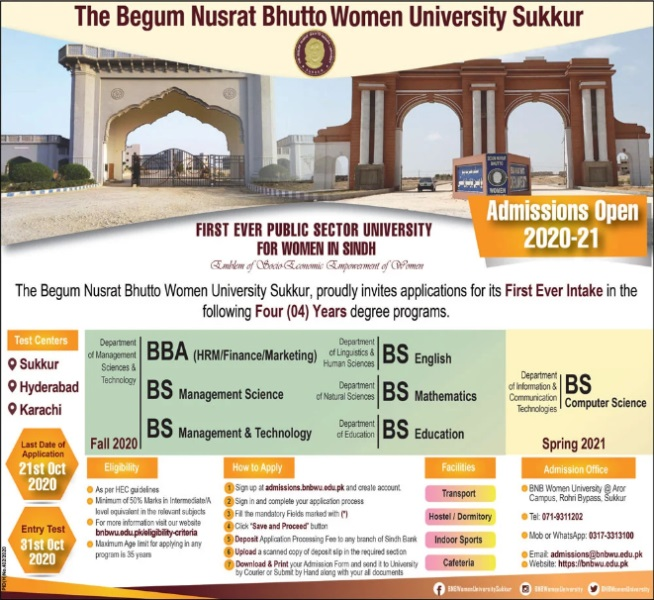 admission announcement of The Begum Nusrat Bhutto Women University