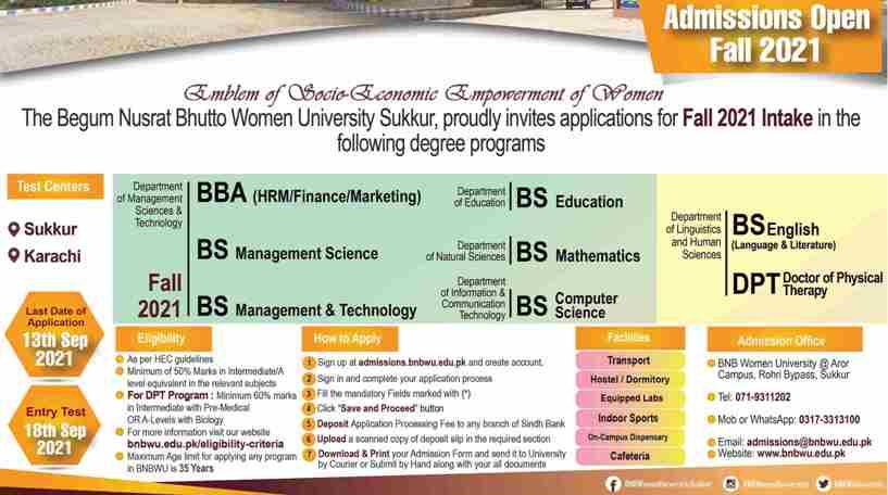 admission announcement of The Begum Nusrat Bhutto Women University