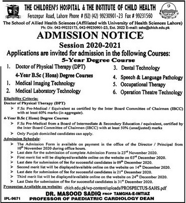 admission announcement of The Childrens Hospital & The Institute Of Child Health