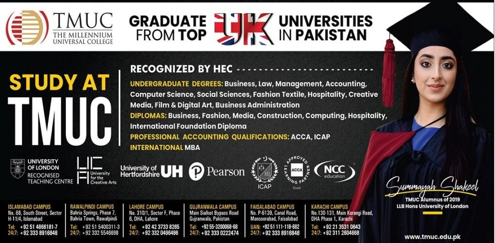 admission announcement of The Millennium University College