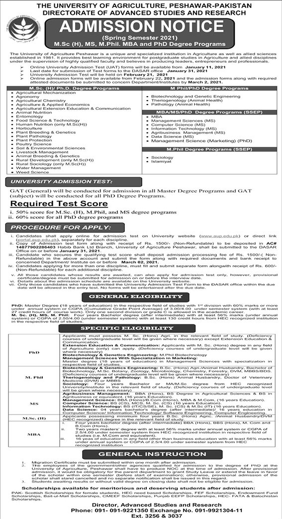 admission announcement of The University Of Agriculture