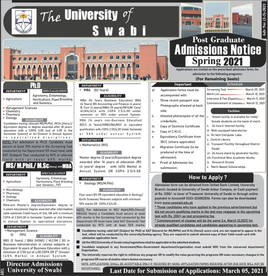 admission announcement of University Of Swabi