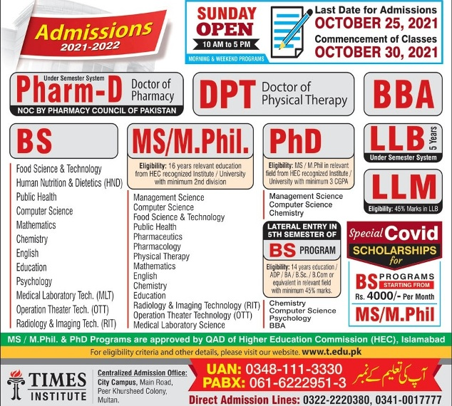 admission announcement of Times Institute