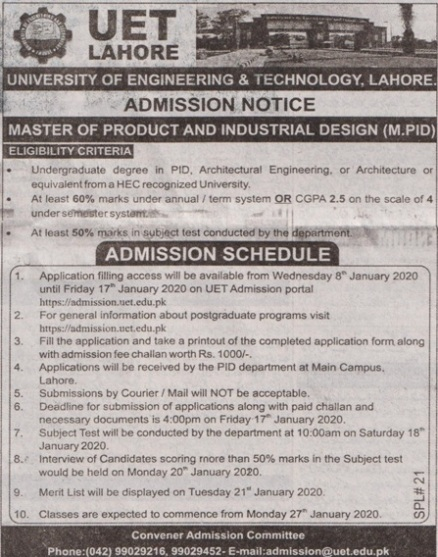 admission announcement of University Of Engineering & Technology, Lahore