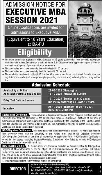 admission announcement of University Of The Punjab
