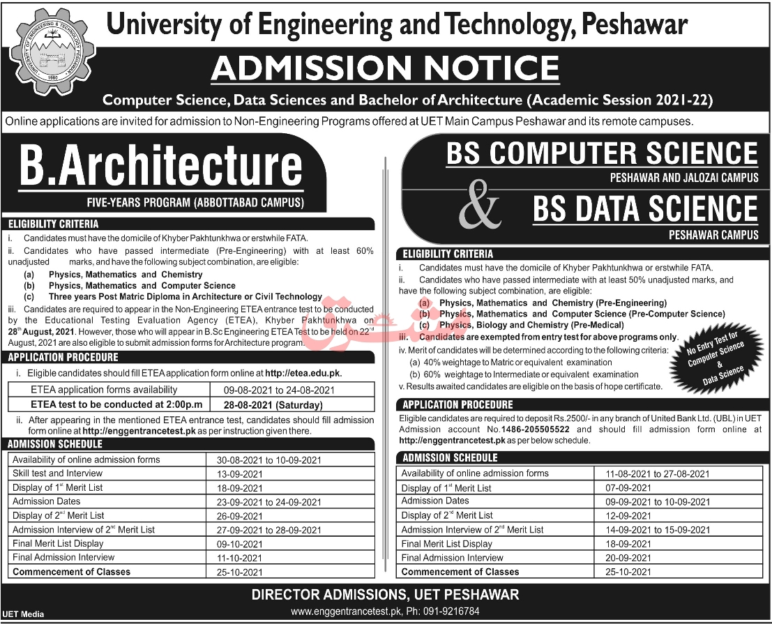 admission announcement of University Of Engineering & Technology, Peshawar