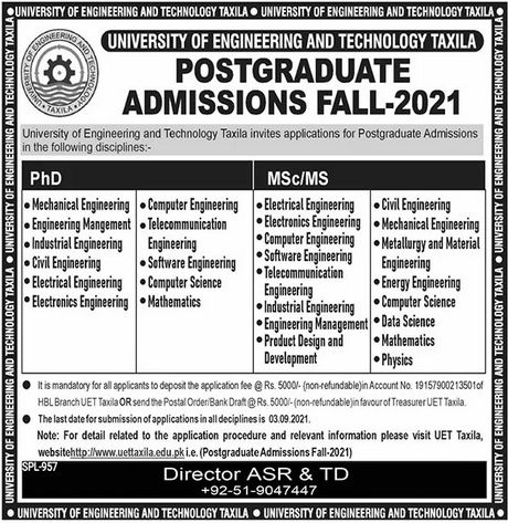 admission announcement of University Of Engineering &  Technology, Taxila