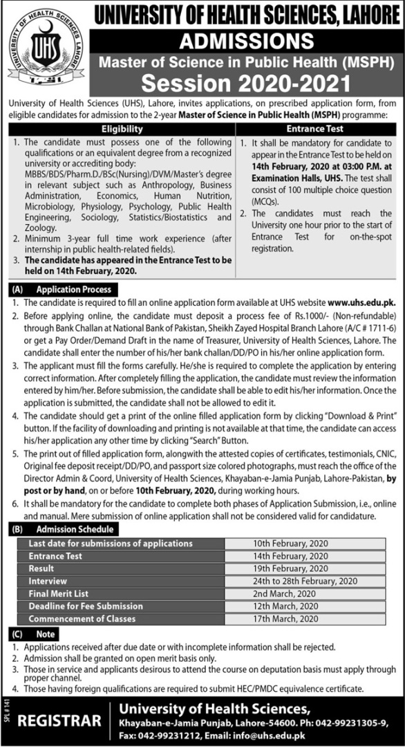 admission announcement of University Of Health Sciences