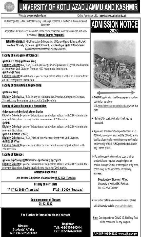 admission announcement of University Of Kotli
