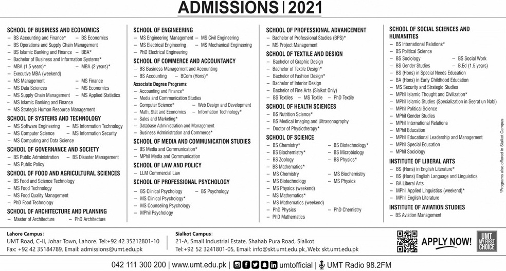 admission announcement of University Of Management And Technology