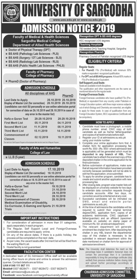 admission announcement of University Of Sargodha