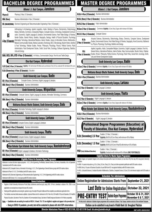 admission announcement of University Of Sindh