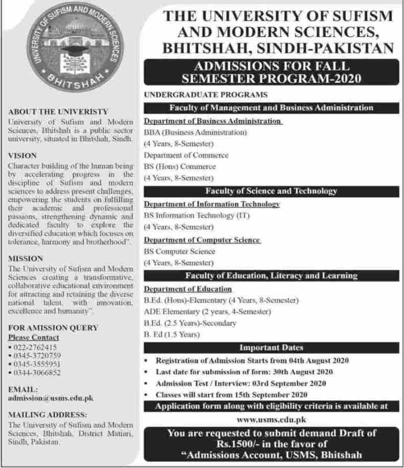 admission announcement of The University Of Sufism  And Modern Sciences