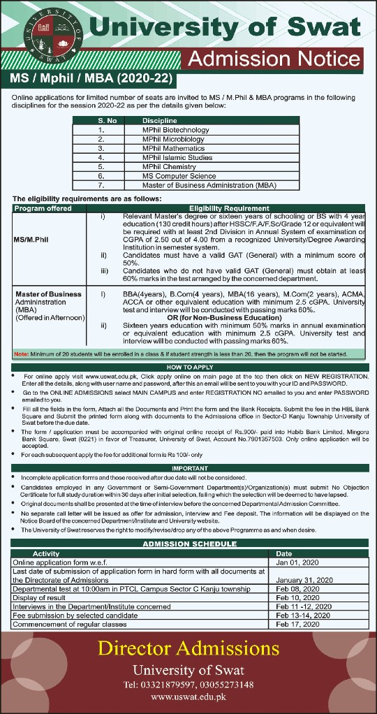 admission announcement of University Of Swat