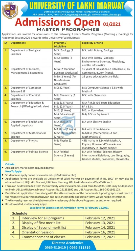 admission announcement of The University Of Lakki Marwat