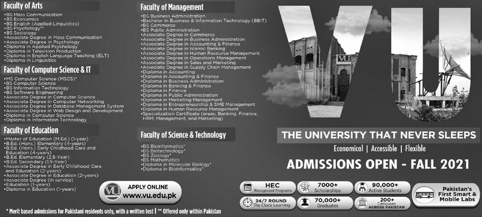 admission announcement of Virtual University Of Pakistan