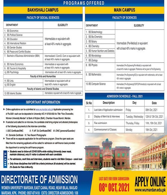 admission announcement of Women University Mardan