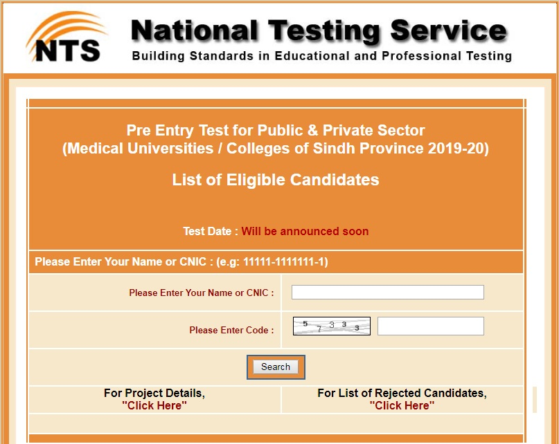NTS announces list of eligible Candidates for LUMHS Sindh