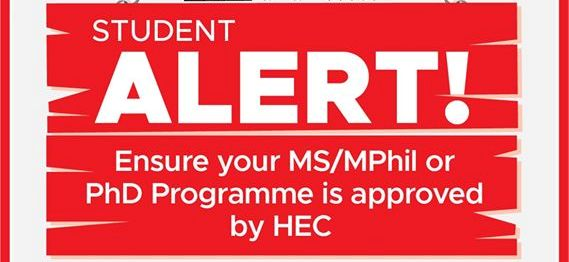 HEC warns students not to seek admission in non-recognized MS MPhil PhD programs