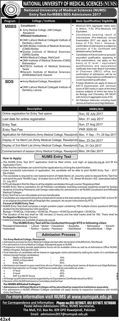 NUMS National University of Medical Sciences MCAT 2019 Pattern