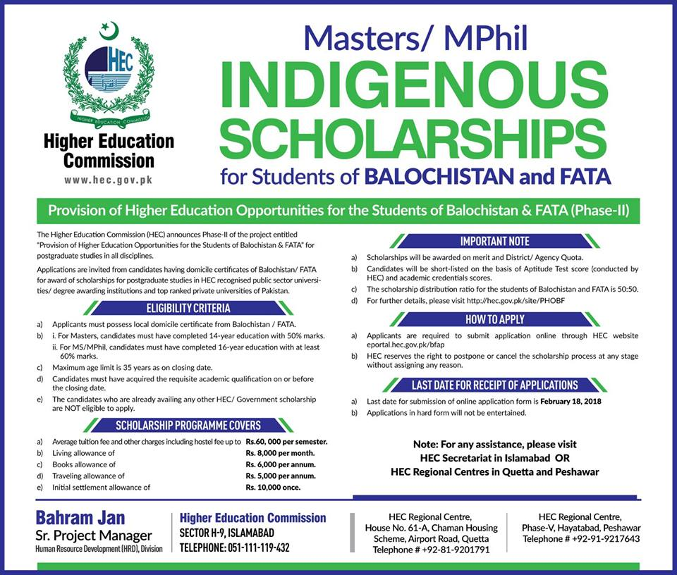 Balochistan-Fata-MS-Scholarship-2212018 Online Application Form For Hec Indigenous Scholarship on