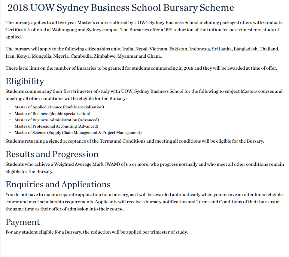 uow master of professional accounting course handbook 2018