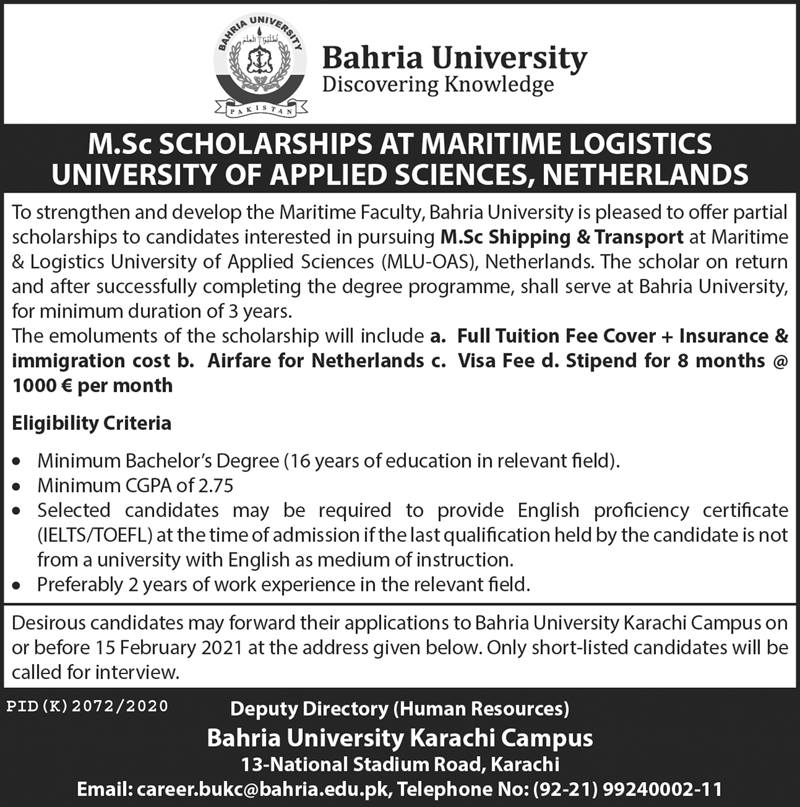 Bahria University Scholarship At Maritime Logistics University Of Applied Science Netherlands