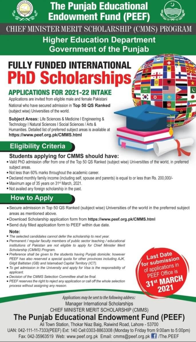 Peef Cmms Phd Merit Scholarships For World Top Universities