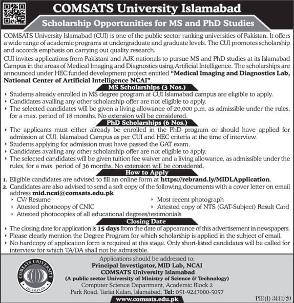 Comsats Ms And Phd Scholarships