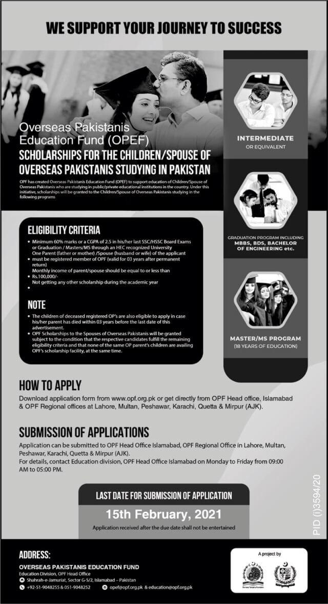 Opf Overseas Pakistanis Education Fund Opef Scholarship