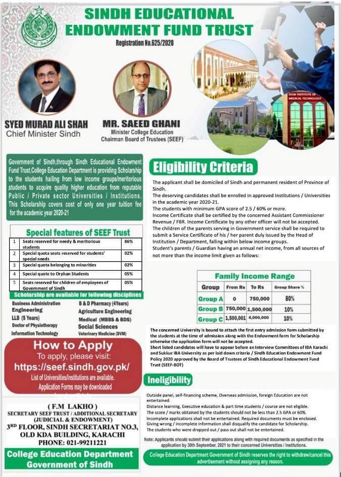 Sindh Education Endowment Fund Seef Scholarship